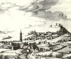 Vista general de Vélez-Málaga hacia 1660 en una grabado de Van Berge.
