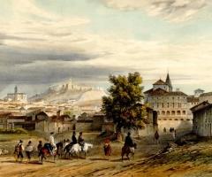 Grabado de Nicolas Chapuy con una vista general de Vélez-Málaga en 1844.